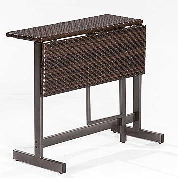 Klappentisch SARONNO 90x60cm Stahlgestell + Polyrattan Braun Gartenmöbel  Tisch Balkon
