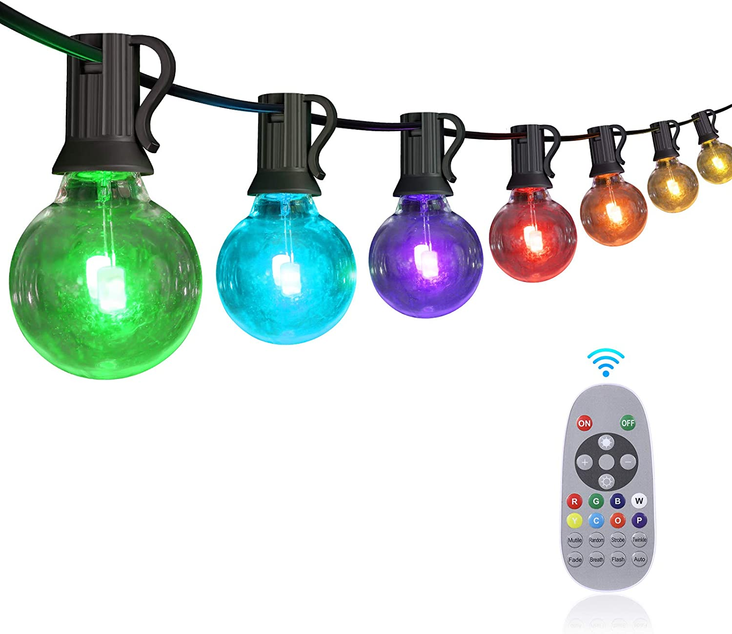 YUNLIGHTS 50FT Color Changing Outdoor String Lights, RGB LED String Lights with 30+3 G40 Globe Bulbs,Dimmable Waterproof String Lights with Remote Control for Christmas, Patio, Cafe, Backyard, Garden