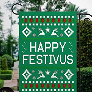BYRON HOYLE Happy Festivus Garden Flag Decorative Holiday Seasonal Outdoor Weather Resistant Double Sided Print Farmhouse Flag Yard Patio Lawn Garden Decoration 12 x 18 Inch