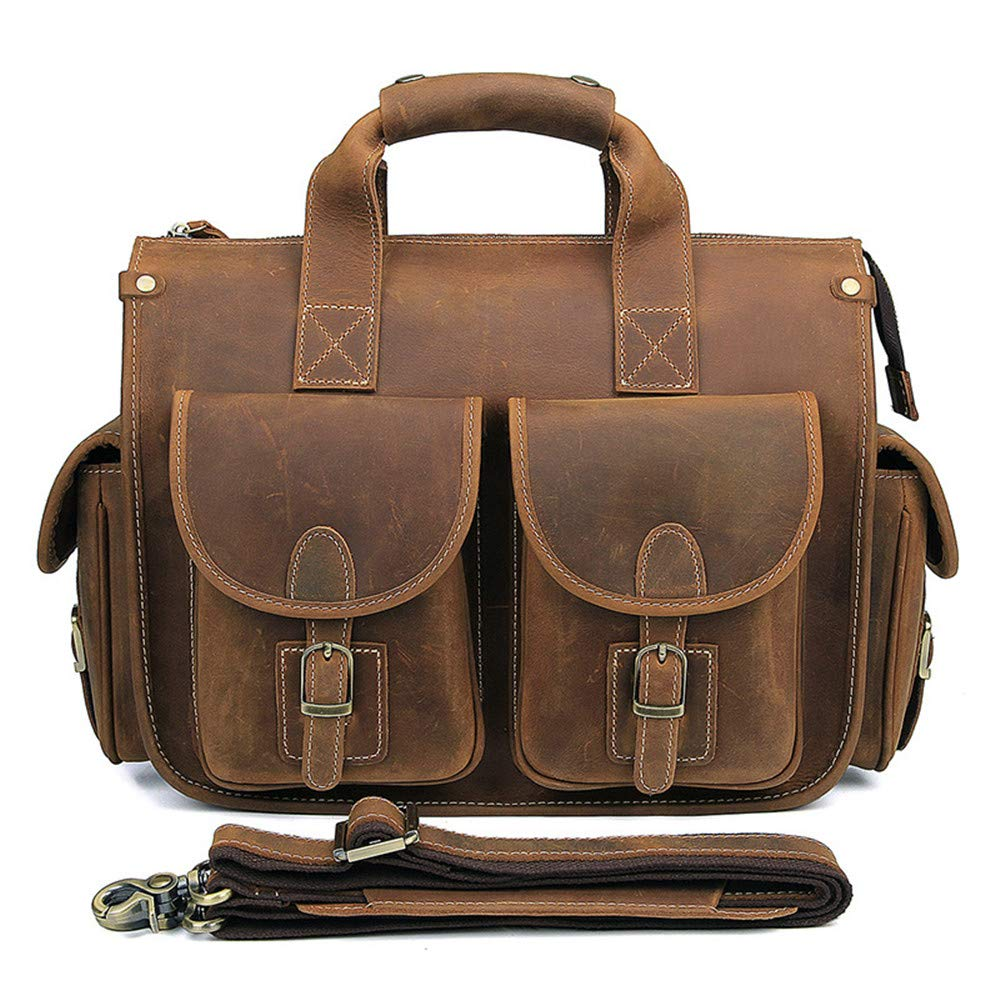 Brown LBYMYB Vintage Leather Handbag for Men and Women for Business Bag Briefcase 34.5cm X 16cm X 29cm Business Briefcase