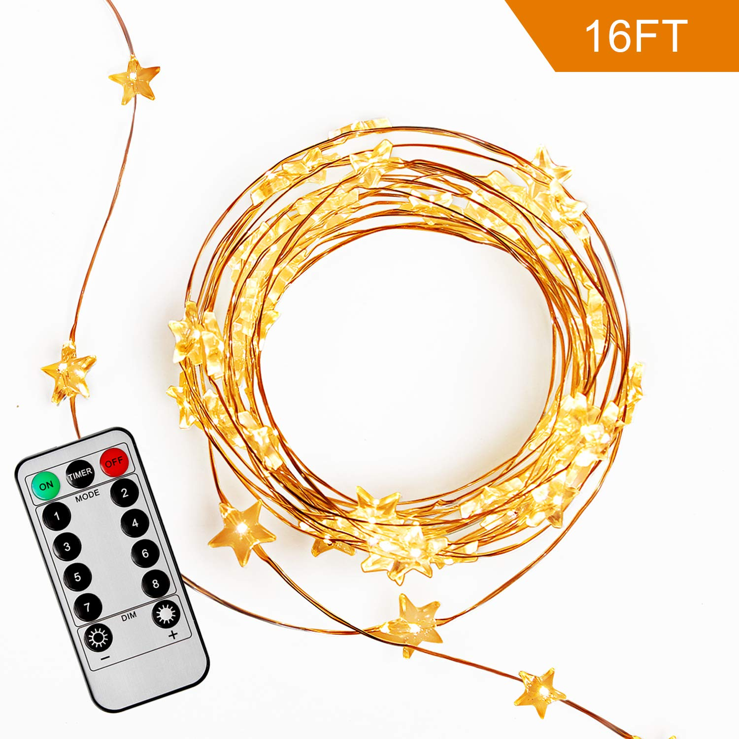 FASTDEER Led String Lights 16.2ft 50 LEDs with Remote Control Battery Operated Waterproof 8 Modes Fairy Lights Christmas Lights Warm White