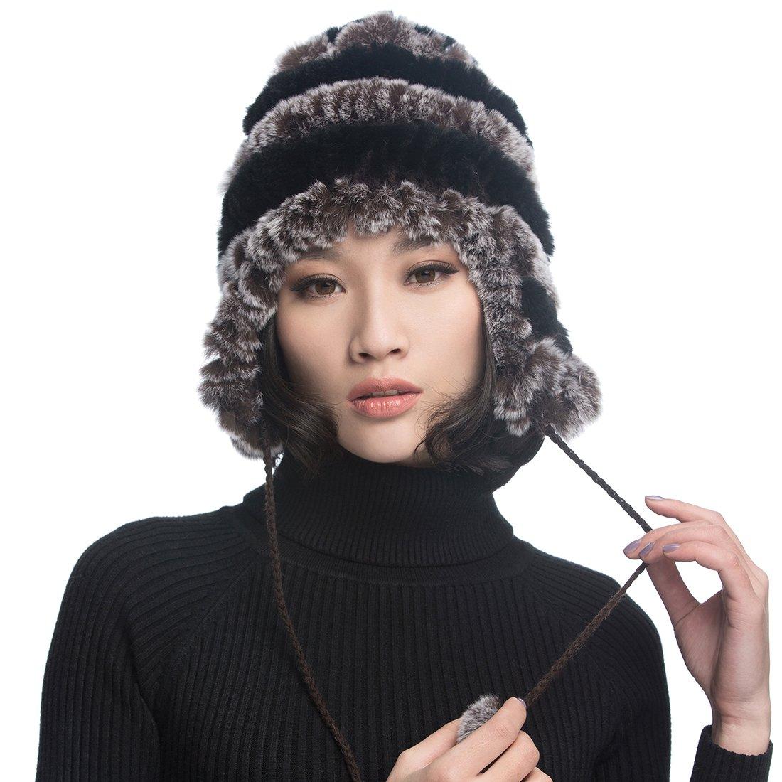 URSFUR Women's Rex Rabbit Fur Hats Winter Ear Cap Flexible Multicolor (Coffee & Black)