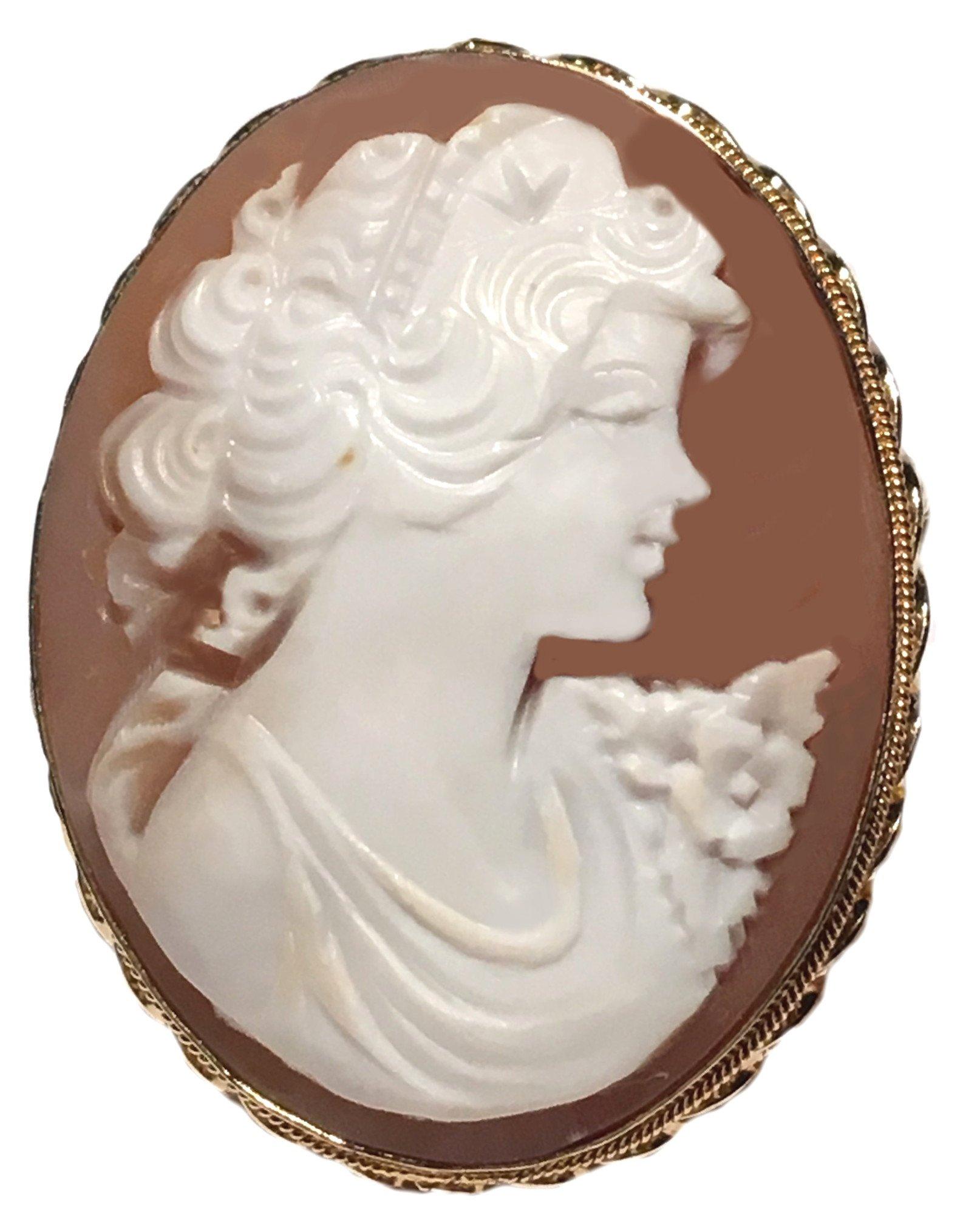 Cameo Brooch Pendant Master Carved, Autumn Love, Sterling Silver 18k Gold Overlay Sardonyx Shell Italian
