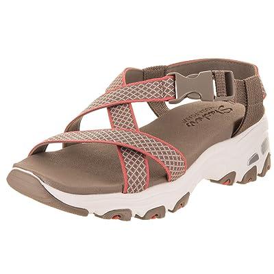 Skechers D'Lites Summer Crossing Womens River Sandals Taupe/Coral 10 | Sport Sandals & Slides