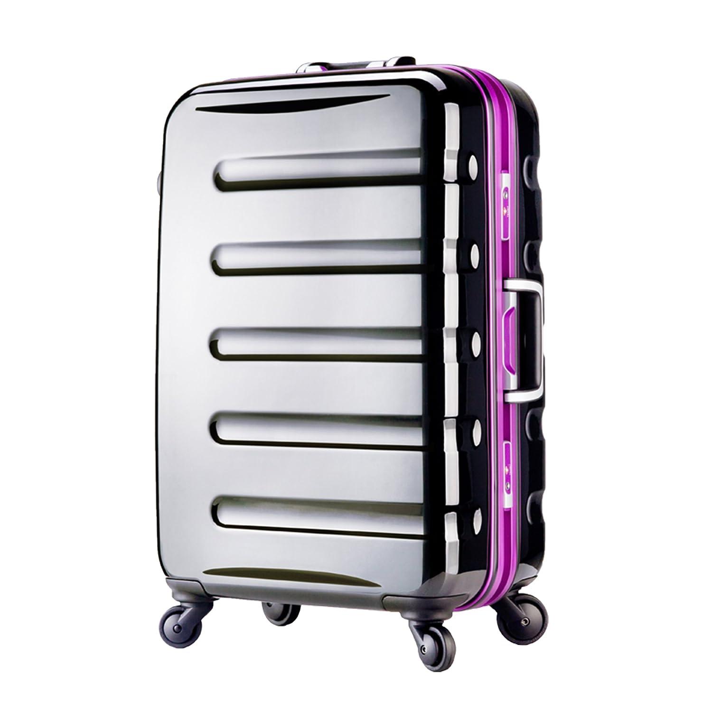 【レジェンドウォーカー】LEGEND WALKER スーツケース アルミフレーム 鏡面ボディ TSAロック 軽量 機内持込~大型 B0798LXHRB Mサイズ(3~6泊/52リットル)|ブラック/パープル ブラック/パープル Mサイズ(3~6泊/52リットル)