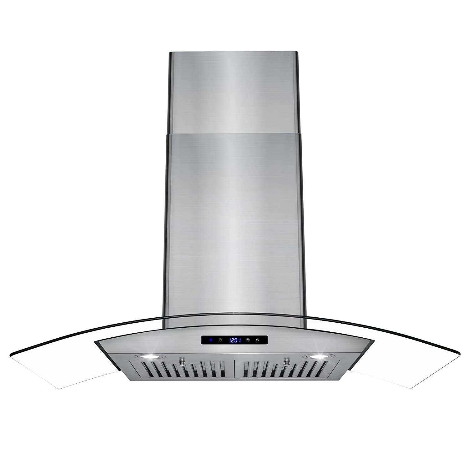 AKDY 36 Wall Mount Stainless Steel Glass Range Hood Touch Panel Control Baffle Filter AK-RH0289