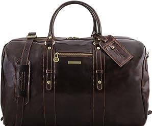 9b5f8ca4af Tuscany Leather TL Voyager Borsa da viaggio in pelle con tasca frontale Testa  di Moro