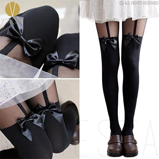 42064a87a Dormery TIGHTS - 120D + 30D Sexy Black Sheer Heart Bow Stripe Over The Knee  Pantys Medias Hosiery Stockings Pantyhose Bow Suspender at Amazon Women s  ...