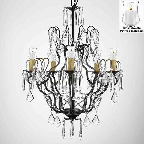 Marvelous Crystal Chandelier Lighting Chandeliers W/ Candle Votives H27u0026quot; X  W21u0026quot;  For Indoor