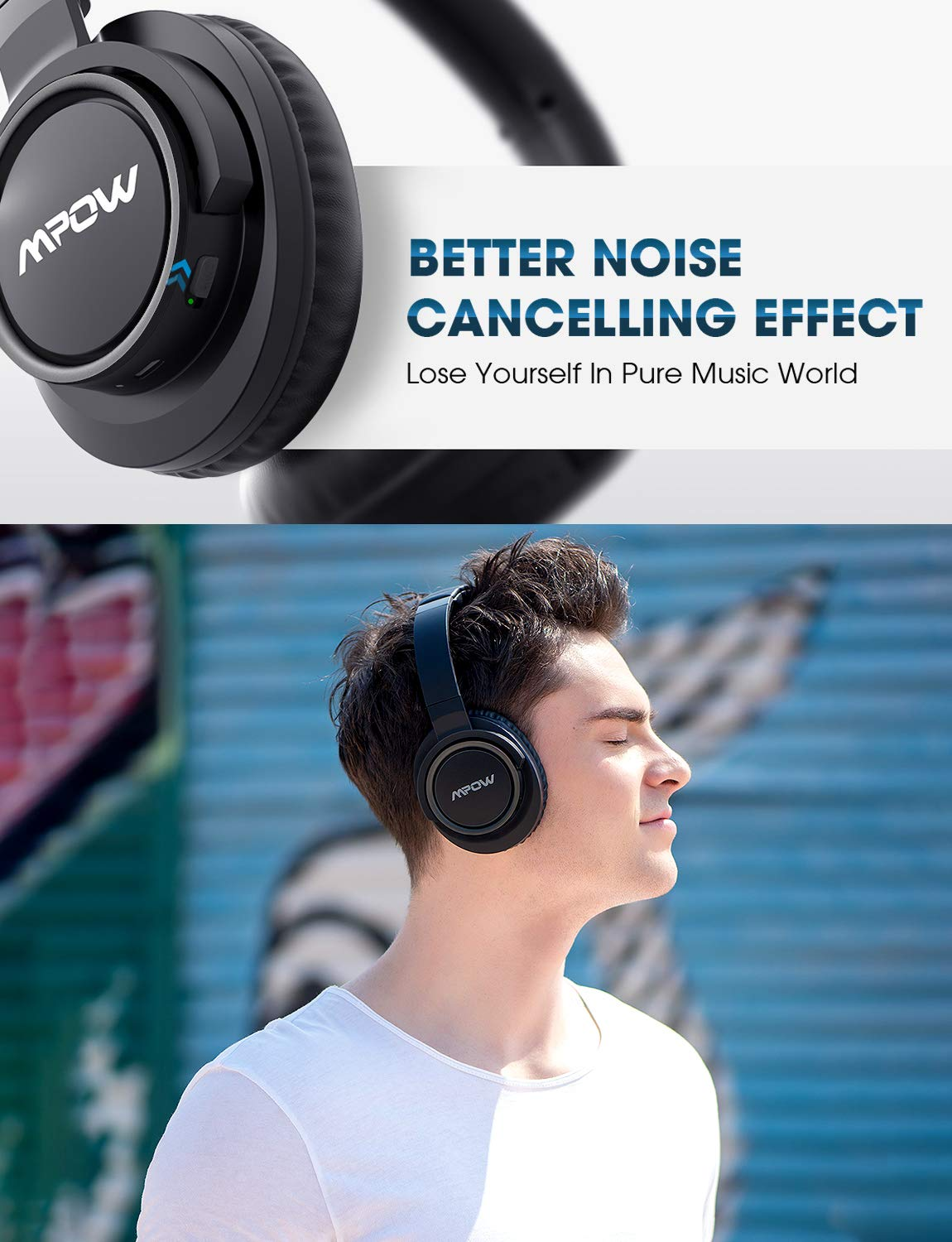 Mpow [Update] Active Noise Cancelling Headphones, 50 Hours Playtime with Hi-Fi Deep Bass, ANC Over Ear Bluetooth Headphones with Mic, Foldable Wireless Headset for Travel Work TV Cell Phone/PC by Mpow (Image #2)