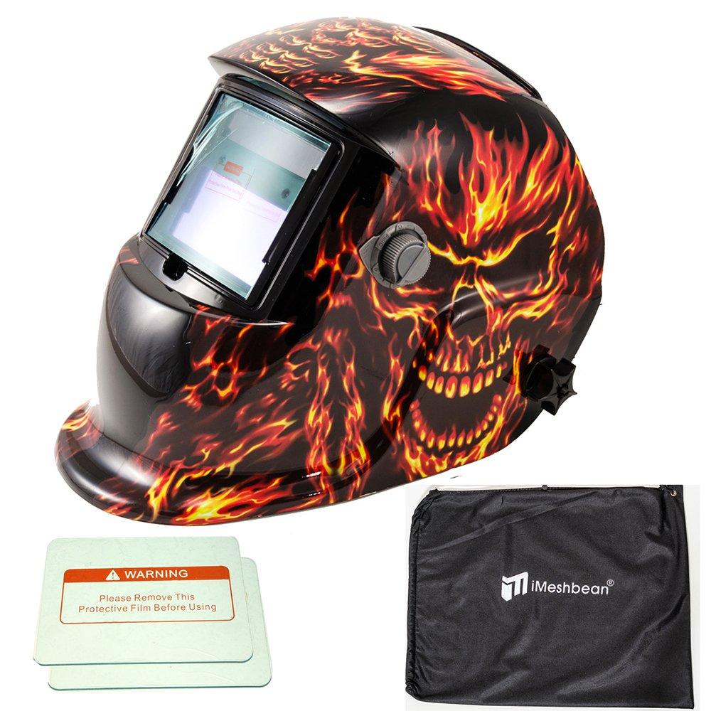 iMeshbean Pro Cool Solar Power Auto Darkening Welding Helmet with Grinding Function & Extra Lens Covers & Storage Bag Arc Tig Mig Plasma ANSI Certified Welder #1042 USA