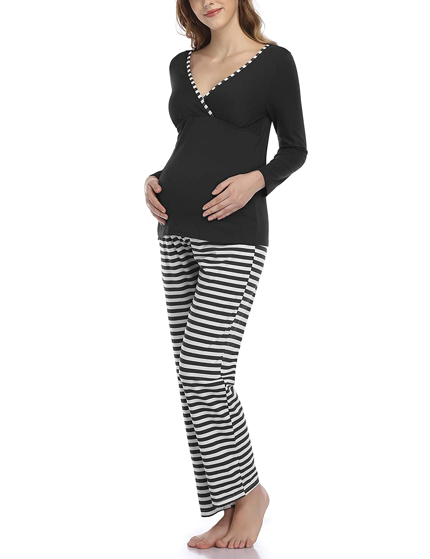 Women Soft Long Sleeve Striped Shirts for Pregnant and Breastfeeding Sleepwear Aranmei Women Cotton Maternity Nursing Pyjamas Set for Hospital//Home
