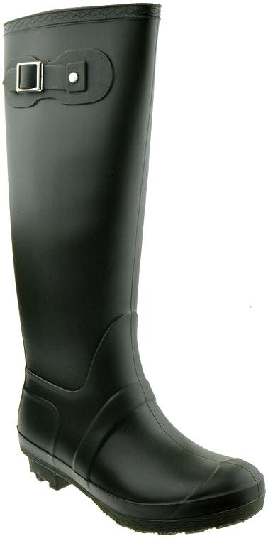 Valentina 02 Round Closed Toe Slip on Rain Boots Rubber Black