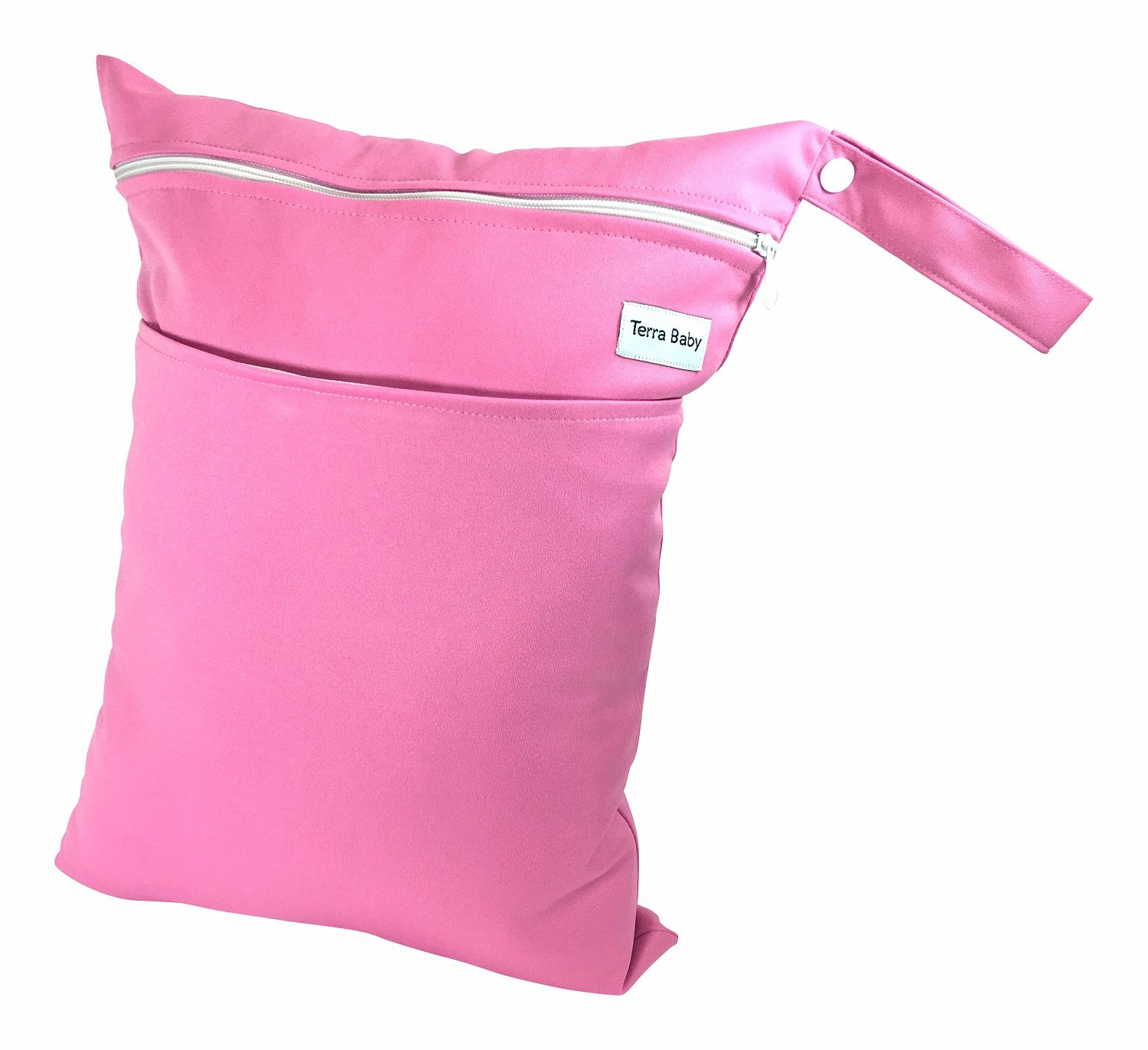 Baby Wet and Dry Bag for Travel Diapers, Burp Cloth and more - Reusable and Waterproof (Hot Pink) by Terry Baby