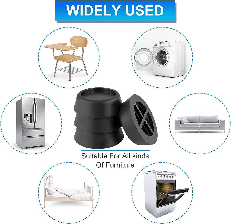 6,5 cm 8 PCS Waschmaschine Fu/ßpolster Universal Anti Vibration Gummif/ü/ße Steady Spin Waschmaschine Pad Schwarz Anti Vibration Pads f/ür M/öbel