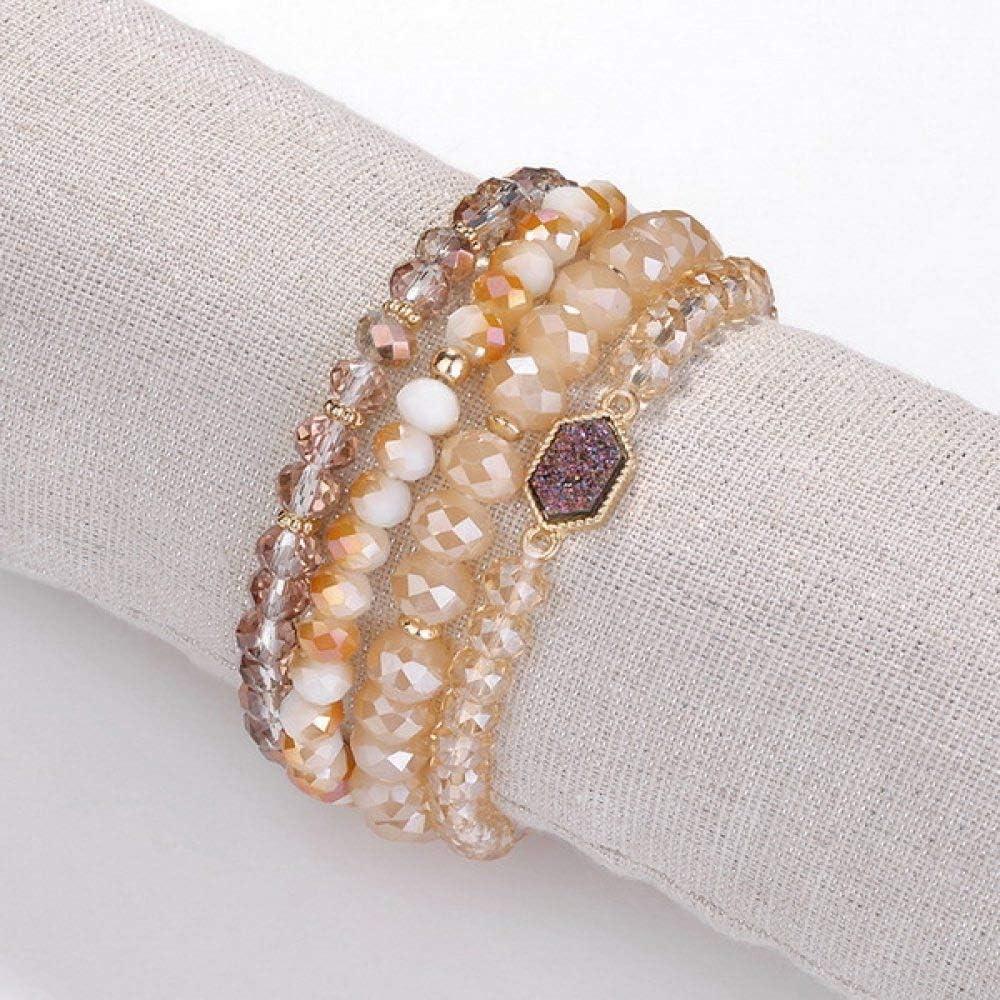 ZMMZYY Pulsera Piedra,Tallado de Piedras Semi-Preciosas Pulseras de Perlas Marrones apiladas Cordones elásticos Ajustables de Rosca de 8 mm de Las Mujeres