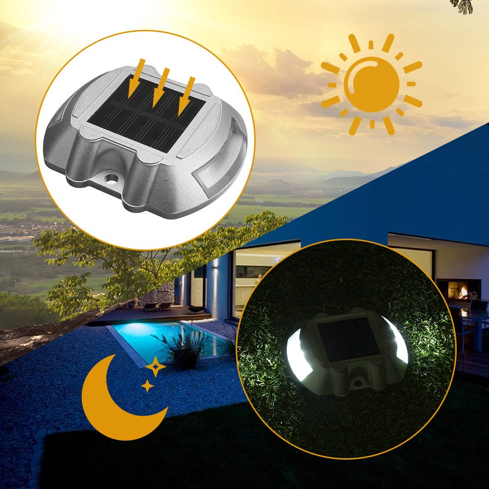 Led Driveway Lights High Illumination Solar Light Buy Blue: SOLMORE 4 Pack Solar Deck Lights LED Dock Light Solar