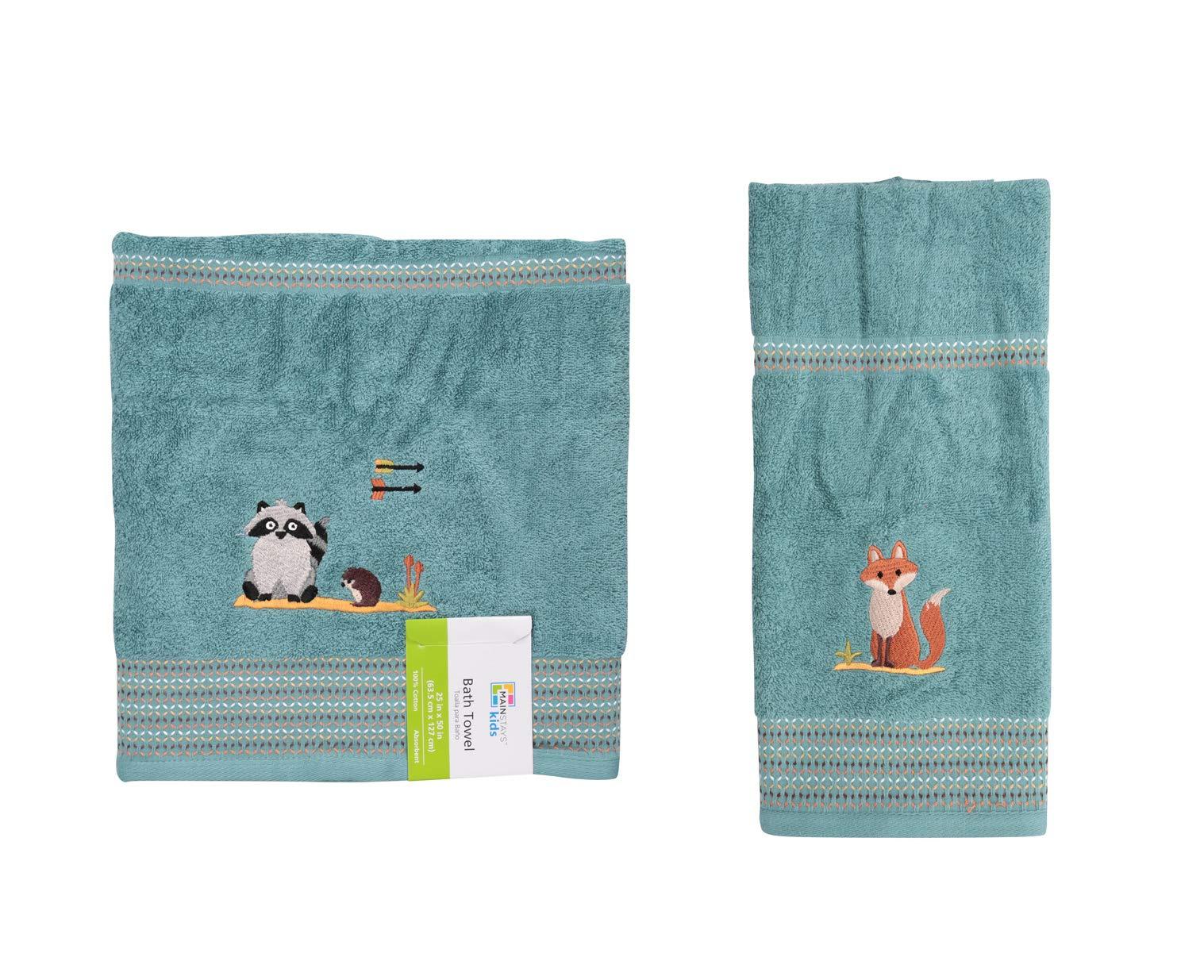 Mainstays Kids Woodland Creatures Bath Towel bundle with Mainstays Kids Woodland Creatures Hand Towel