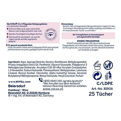 Nivea - Toallitas de limpieza nutritivas, pack de 4 (4 x 25 unidades): Amazon.es: Belleza