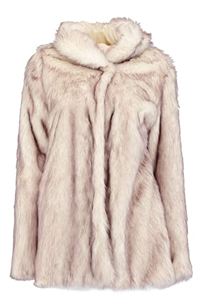 cfd43828e24 Boohoo Womens Boutique Lois Hooded Faux Fur Coat in Cream size 12 ...
