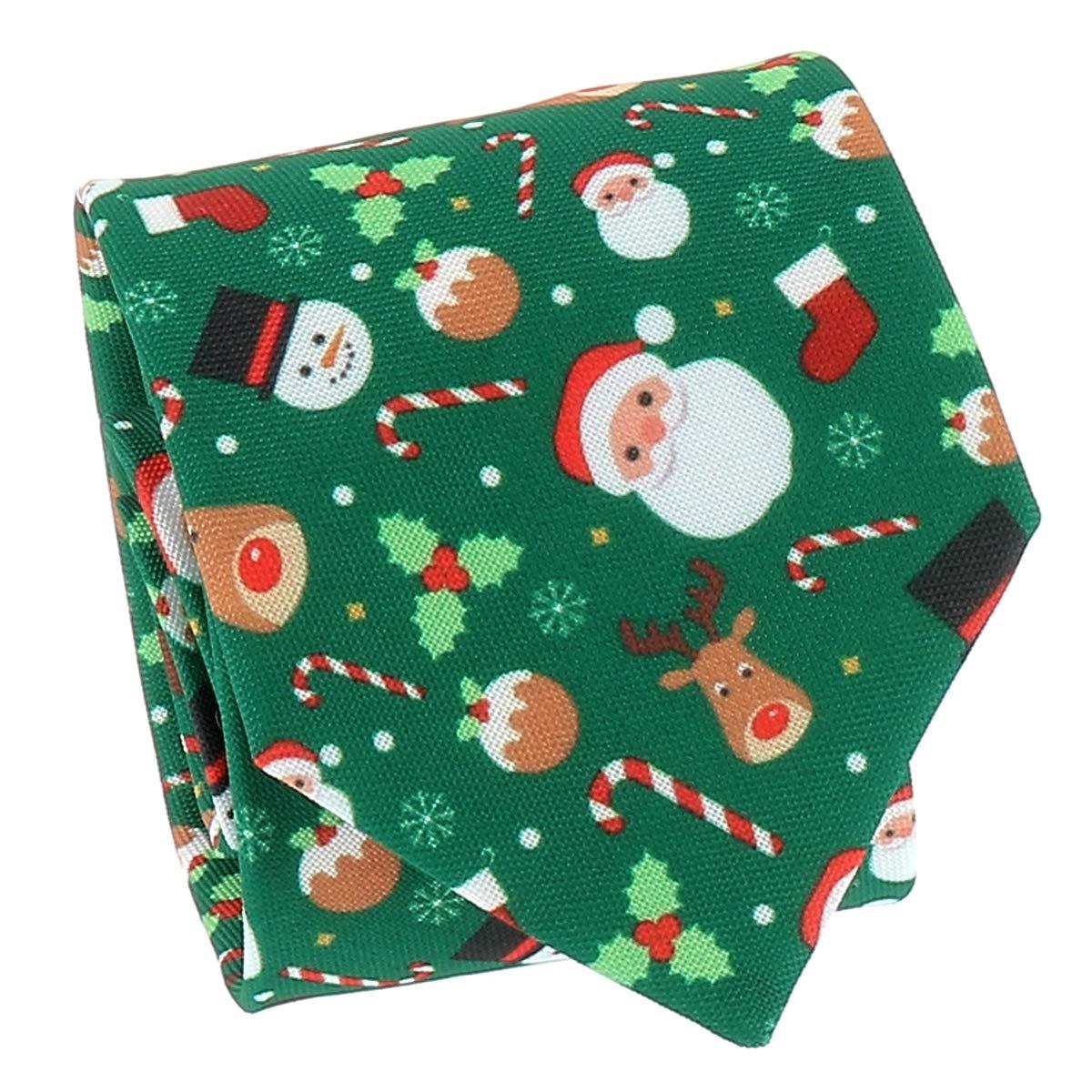 Corbata de Nochebuena SHIPITNOW Corbata de Navidad Jacquard Verde Arbol de Navidad y Mu/ñeco de Nieve Corbata Pap/á Noel Reno