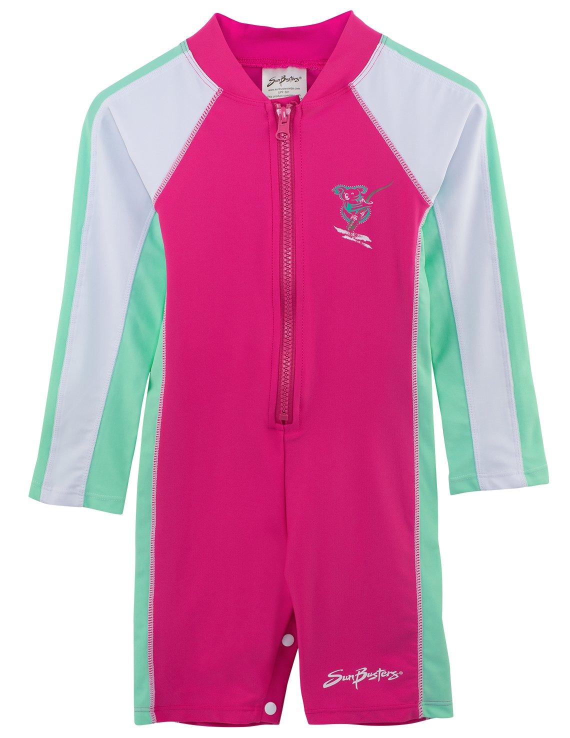 SunBusters Girls One Piece Long Sleeve Sunsuit, UPF 50+ Sun Protection