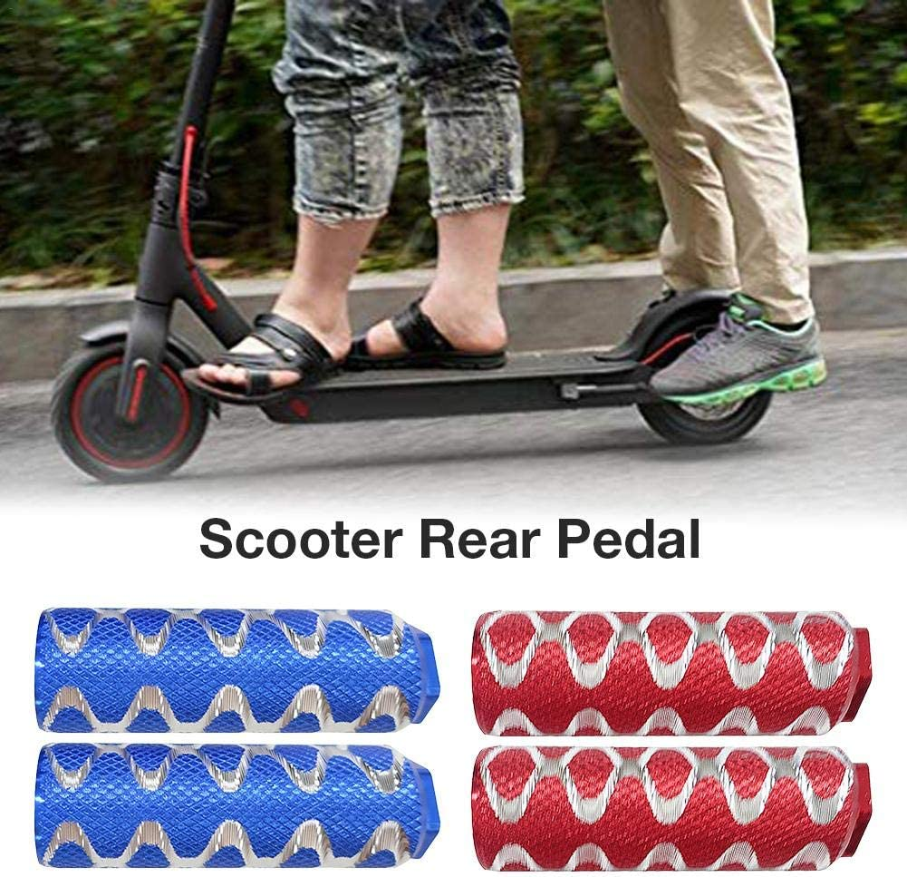 healingpie Electric Scooter Rear Pedal 1 Pair Red//Blue Manned Rear Foot Mat for Xiaomi M365 and Pro Skateboard with Mounting Accessories