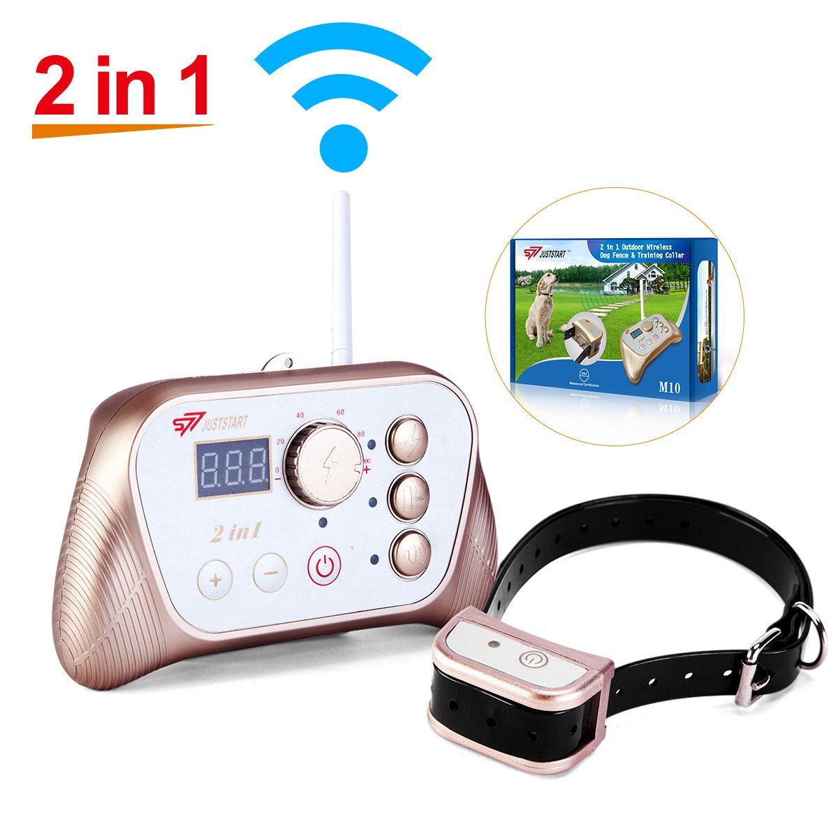 NEWEST 2-in-1 Stablest Signal Wireless Dog Fence System & Dog Training Collar,Invisible Pet Fence System Kit Static Shock & Vibration & Tone for Small to Large Stubborn & Energetic Dogs ,Waterproof