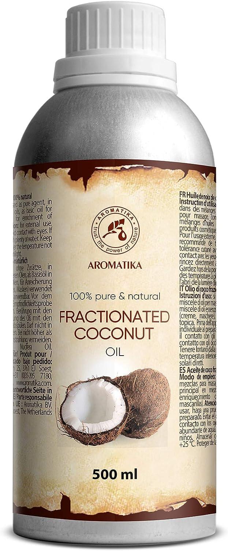 Coco Fraccionado 500ml - 100% Puros y Naturales Aceite - Aceite Base - Inodoro - Tratamiento Facial Intensivo - Cuidado del Cuerpo - Piel - Cabello - Coconut Oil