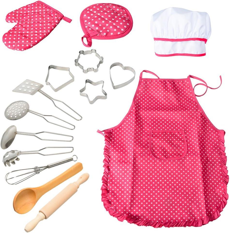 ThinkMax 15 Piezas Conjunto De Juego Chef Juegos De Pretexto De Vestuario De Cocina, Delantal De Cocina con Utensilios para Niñas (Rojo)
