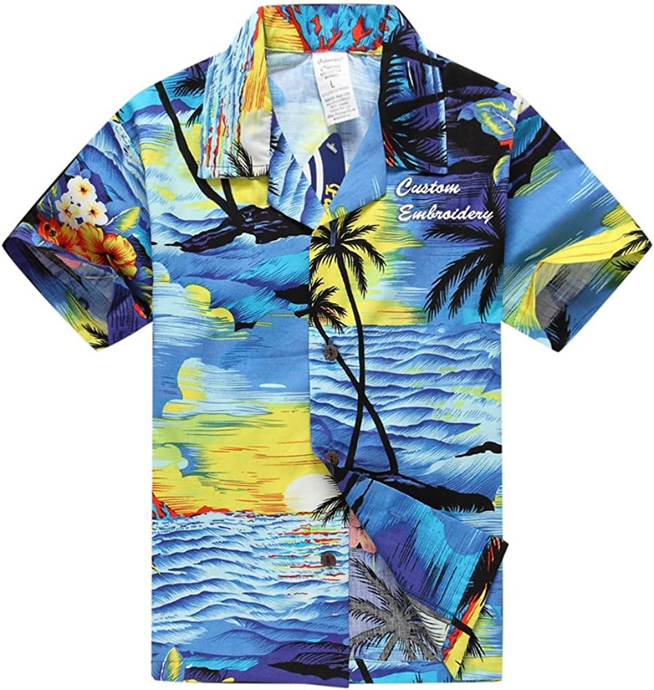 Palm Wave Boy Hawaiian Aloha Luau Shirt and Shorts 2 Piece Cabana Set in Blue Marlin Fish