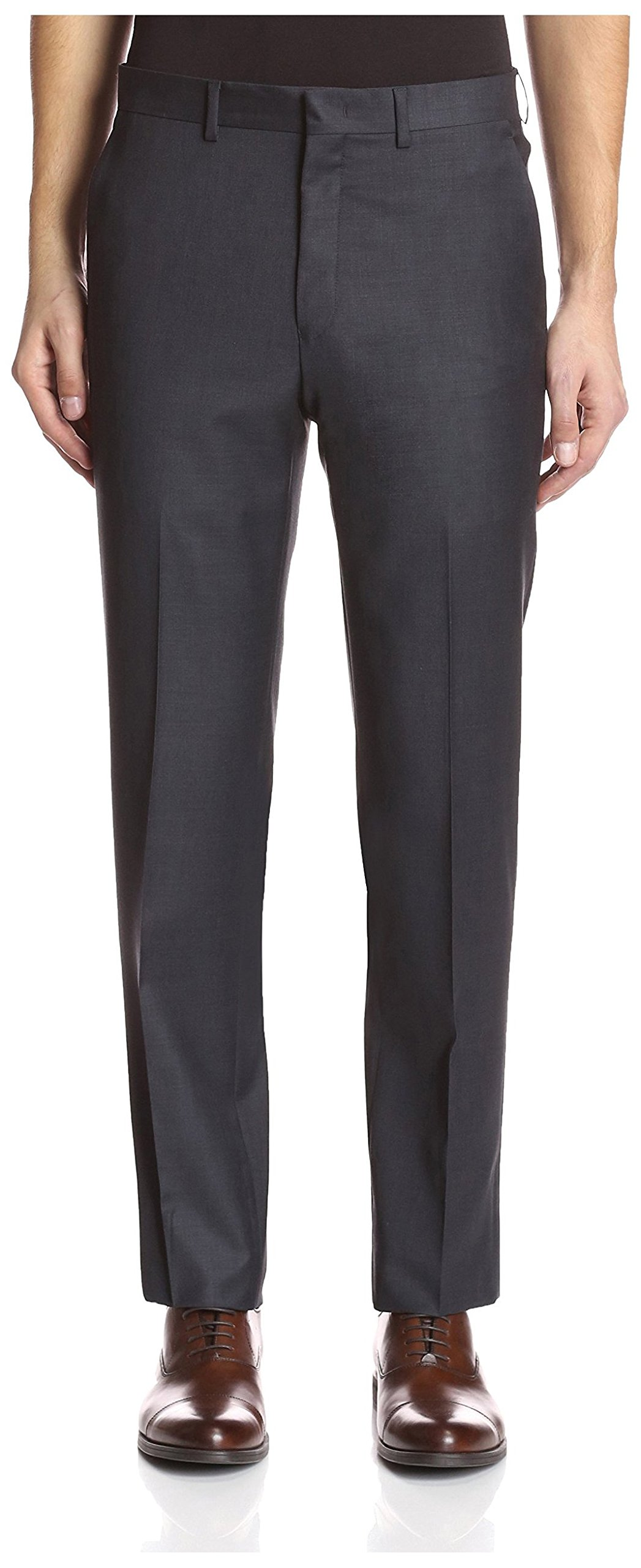 Franklin Tailored Men's Solid Trousers, Dark Grey, 34 US