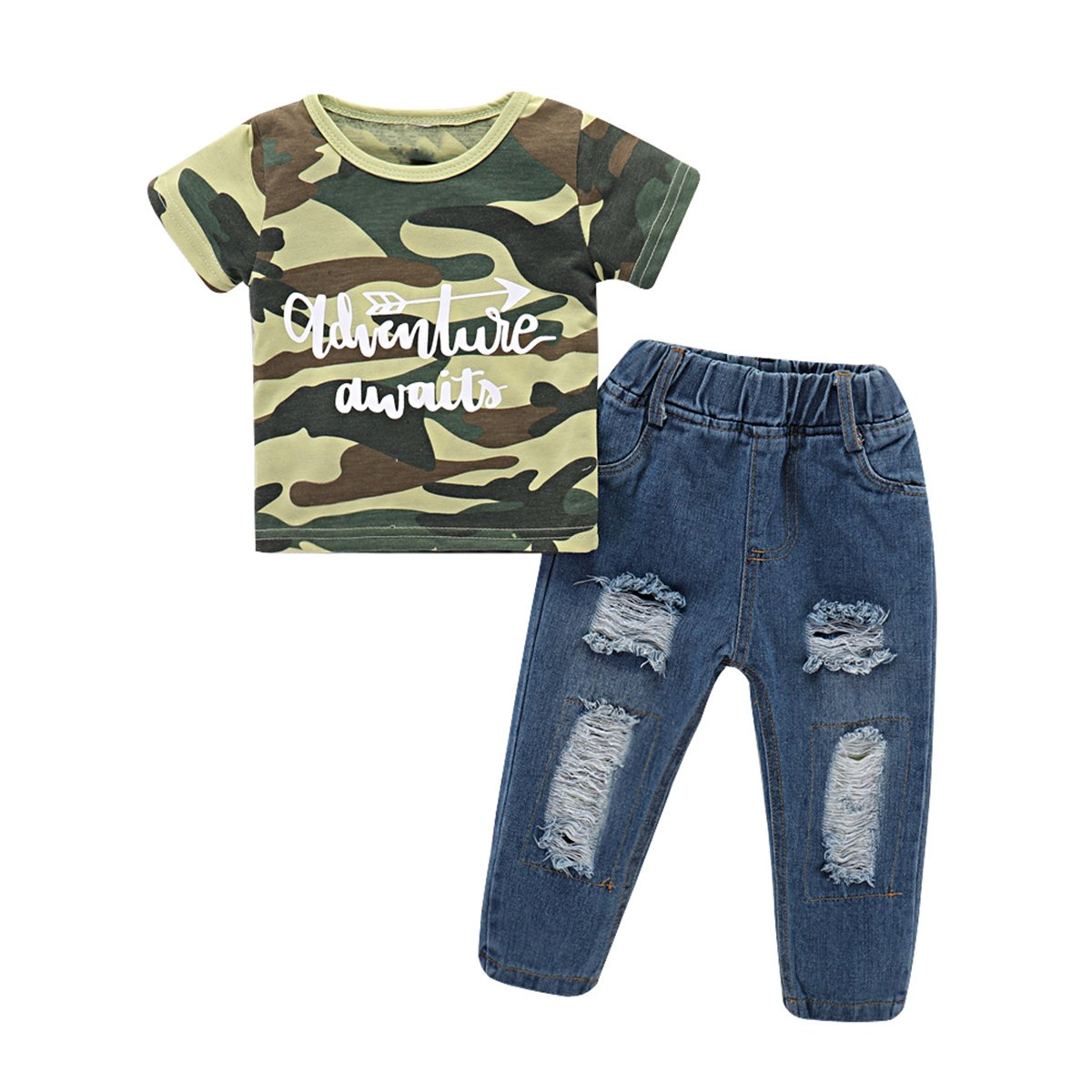 2pcs Baby Boy Short Sleeve Camo T shirt + Ripped Jeans Clothes Set