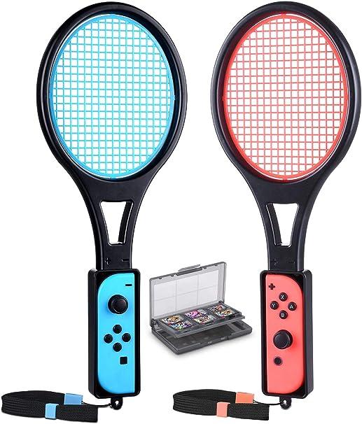 Raqueta de Tenis para Nintendo Switch Joy-con, tendak Game Accesorios para Mario Tennis Aces Game con 12 en 1 Juego de Cartas (Paquete de 2, Negro): Amazon.es: Electrónica