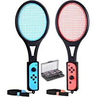 Tennis Racket for Nintendo Switch Joy-Con Controllers, Tendak Game Grip for Mario Tennis Aces with 12 in 1 Game Card Case (2 Pack, Black)