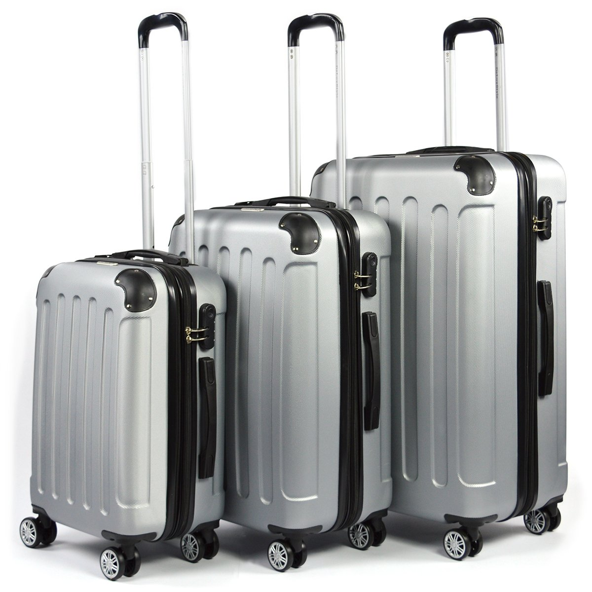 Flexot 3-teiliges ABS Reisekofferset, Hartschalenkoffer, Ultraleicht, 360° Rollsystem, 4 Rollen, Aluminium, Silber 360° Rollsystem Flexot-3S-Silber