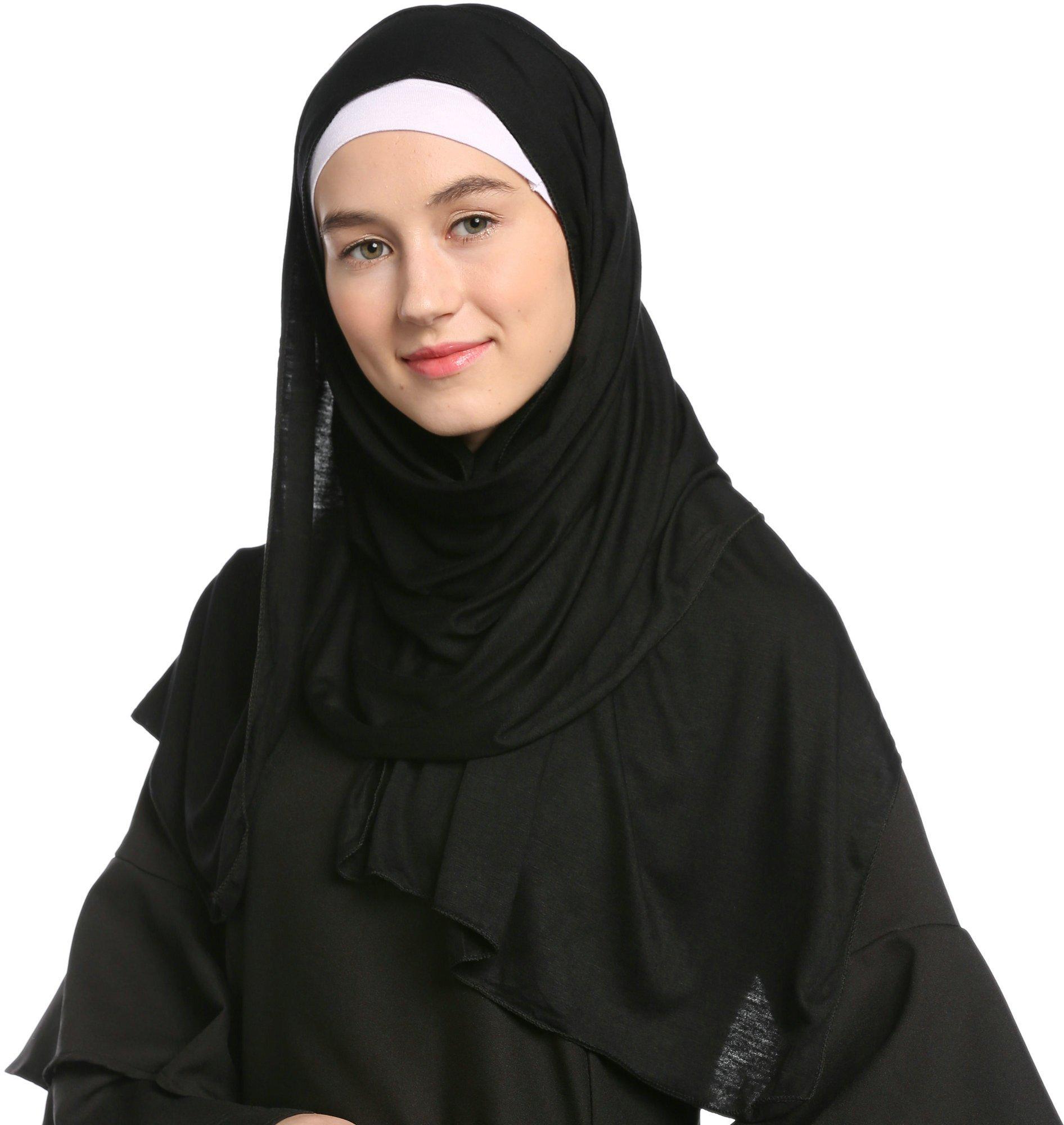 Ababalaya Fashion Womens Lightweight 100%Cotton Jersey Hijab Scarf, Black, One Size by Ababalaya (Image #3)