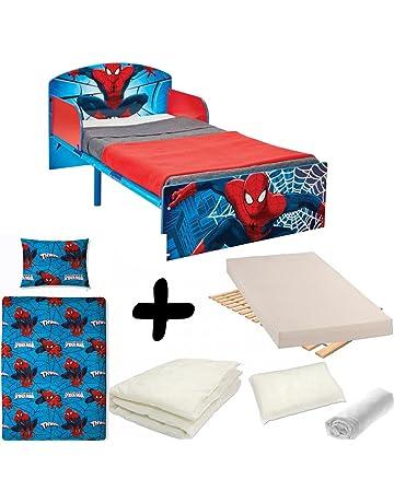 BEBEGAVROCHE Pack Completo Cama Madera y Metal Spiderman=Cama + colchón & – Juego +