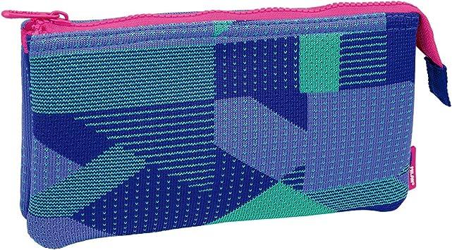 Milan Portatodo 2 Compartimentos Knit, Lila Estuches, 22 cm, Lila y Verde: Amazon.es: Equipaje