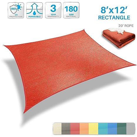 Amazon Com Patio Paradise 8 X 12 Red Sun Shade Sail Rectangle