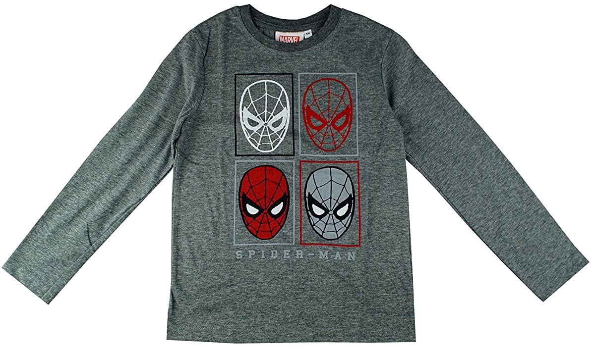 Boys Marvel Spiderman Face Grid Long Sleeve T-Shirt Top Sizes From 3 To 8 Years