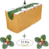 Hawaiian Luau Table Skirt Yellow Grass Table Skirt(9ft long)With Hibiscus Tropical Leaf Grass Table Runner for Party