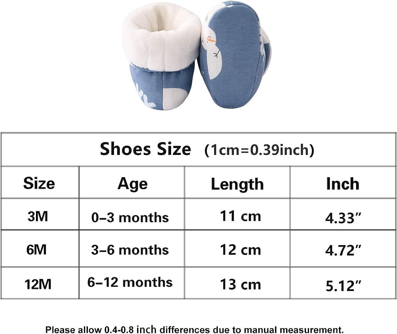 pureborn Baby Boy Girl Fleece Cozy Booties Warm Infant First Walker Shoes