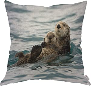 Moslion Throw Pillow Cover Case Animal Sea Otters Playing Water Swim Cotton Linen Cushion Covers for Couch/Sofa/Kitchen/Car/Boy Gilrs Bedroom Livingroom 18 x 18 inch Pillow case
