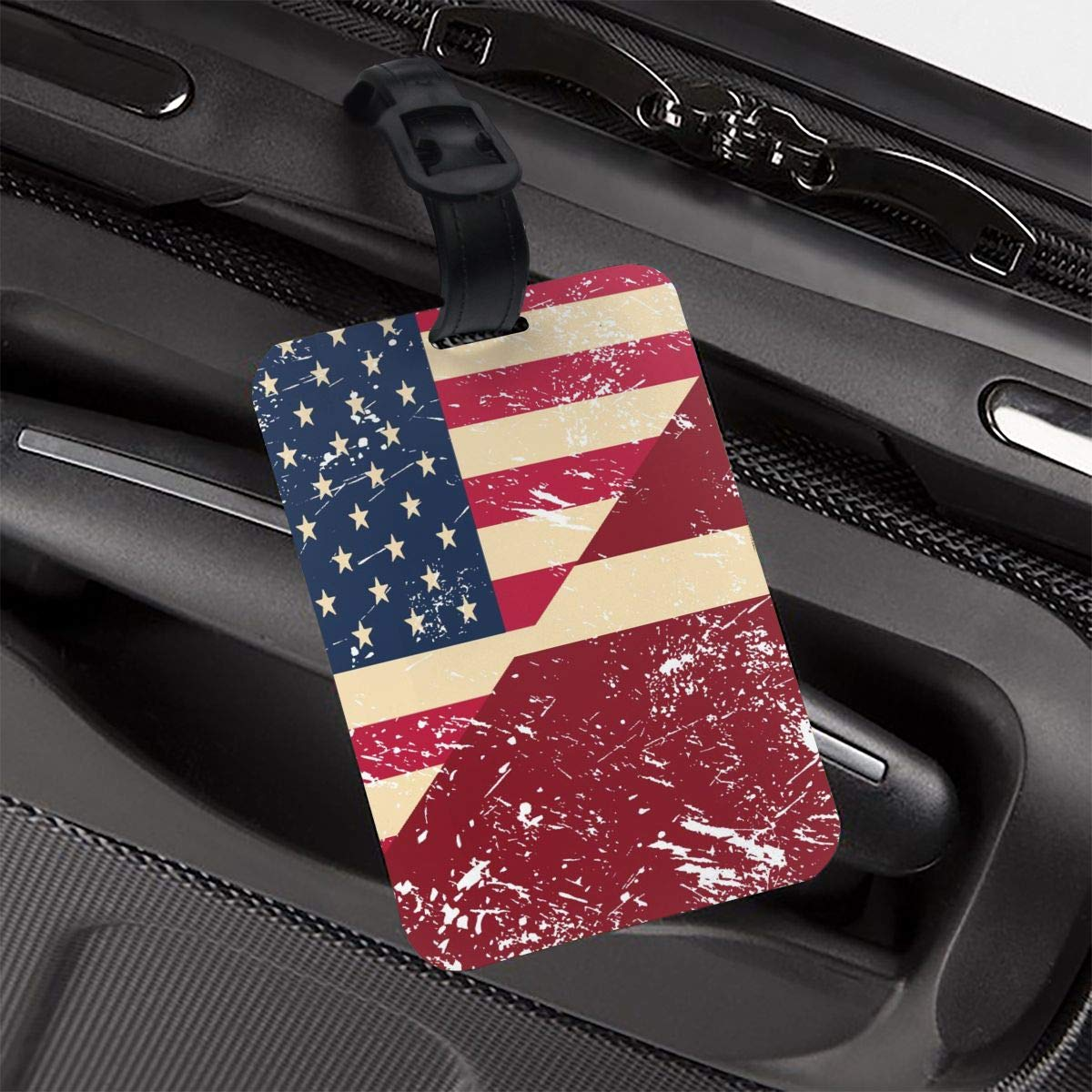 NB UUD American and Latvia Retro Flag Travel Luggage Tag Portable Employees Card Luggage Tag Holders Travel ID Identification Labels for Baggage Suitcases Bags