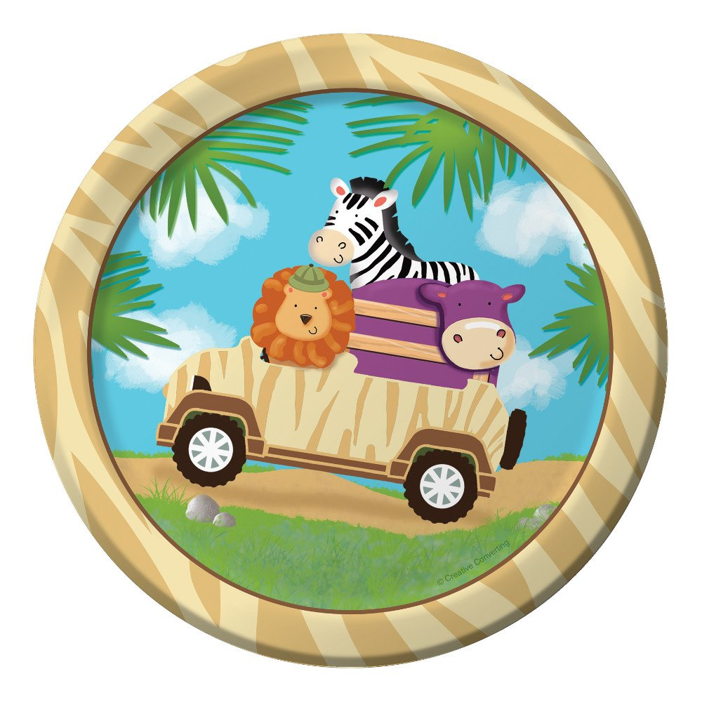 Creative Converting 415520 8 Count Safari Adventure Sturdy Style Paper Lunch Plates, Multicolor, 7
