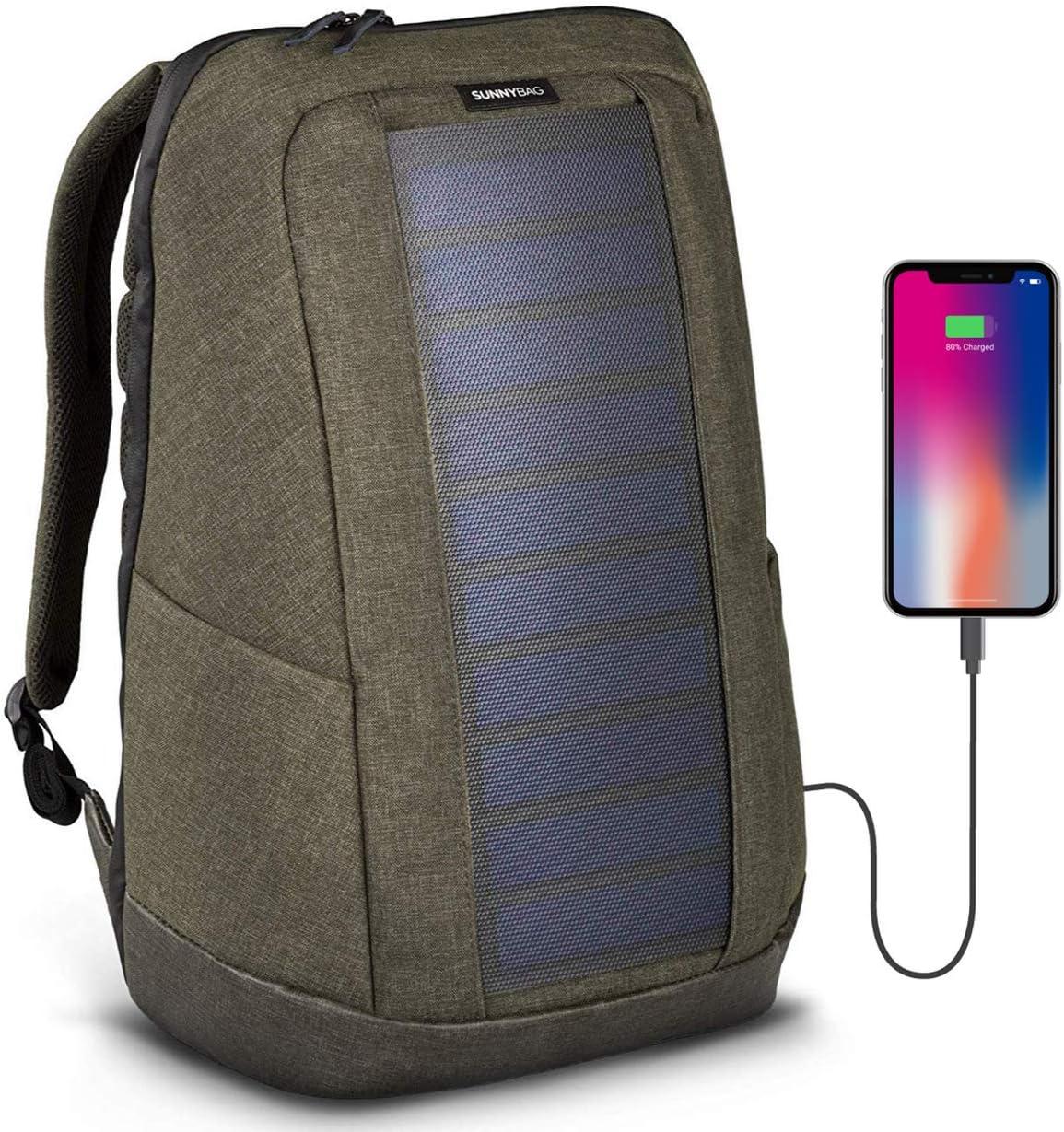 SunnyBAG Iconic Mochilla Solar para Laptop, Panel Solar de 7 vatios, Cargador de Smartphones (Samsung, iPhone, etc.), Tablet, smartwatch + USB y Dual-USB-Port (Olive Brown): Amazon.es: Electrónica
