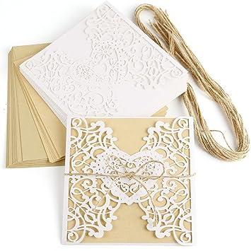 Anladia 10er Einladungskarten Elegante Herz Spitze Design Kraftpapier Mit  Jute Band Karten, Umschläge, Schleifer