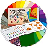 Origami Paper | 350 Origami Paper Kit | Set Includes - 300 Sheets 20 Colors 6x6 | 50 Traditional Japanese Patterns | Origami