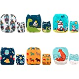 ALVABABY Pocket Cloth Diapers Reusable Washable Adjustable One Size for Baby Boys and Girls 6 Pack with 12 Inserts 6DM16
